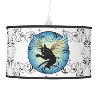Cosmic Cat Moon and Stars Pendant Lamp