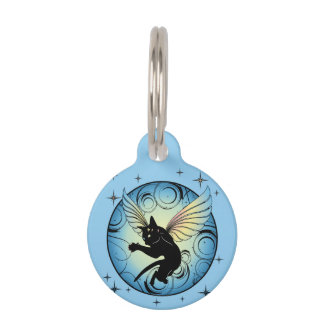 Cosmic Cat Moon and Stars Pet Name Tag