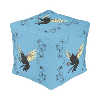 Cosmic Cat Moon and Stars Pouf