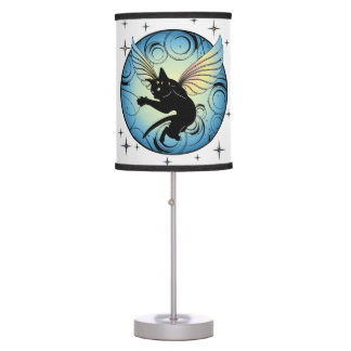 Cosmic Cat Moon and Stars Table Lamp