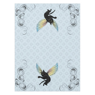Cosmic Cat Moon and Stars Tablecloth
