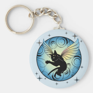 Cosmic Cat Moon Keychain