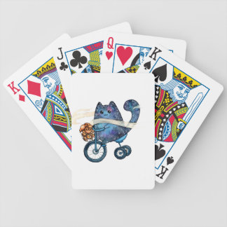 cosmic cat on bike bicycle playing cards