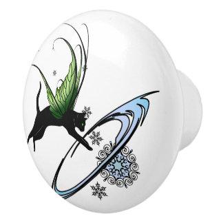 Cosmic Cat Snowflake Ceramic Knob