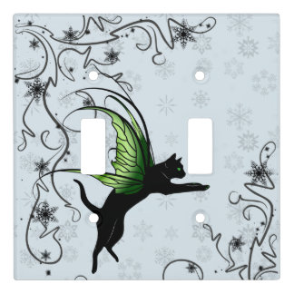 Cosmic Cat Snowflake Light Switch Cover