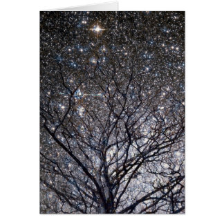 Cosmic Christmas Tree Star Cluster Card