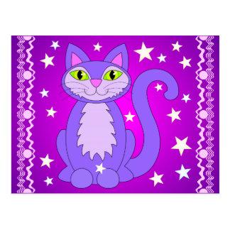 Cosmic Design Cat Stars Postcard Magenta Purple