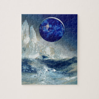Cosmic Earth at Night and Thomas Moran Iceberg Jigsaw Puzzle