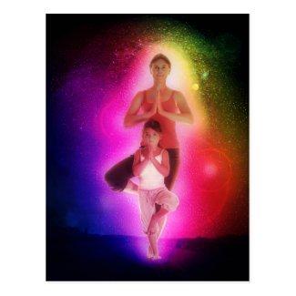 Cosmic family yoga postcard