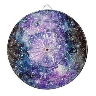 Cosmic galaxy dartboard with darts
