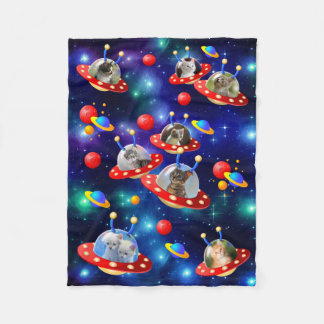 Cosmic Kittens in Alien Spaceship UFO Sci-fi Scene Fleece Blanket