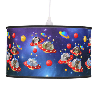 Cosmic Kittens in Alien Spaceship UFO Sci-fi Scene Pendant Lamp