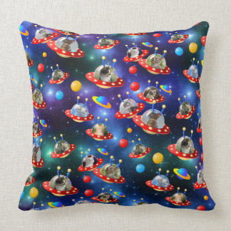 Cosmic Kittens in Alien Spaceship UFO Sci-fi Scene Throw Pillow