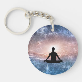 Cosmic Meditator in fractal universe Double-Sided Round Acrylic Keychain