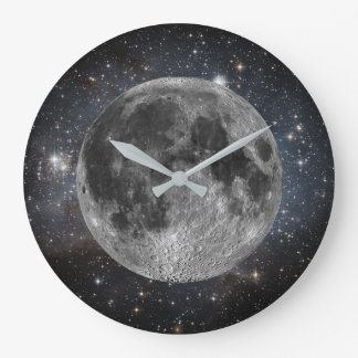 Cosmic Moon and Stars in Outer Space Large Clock