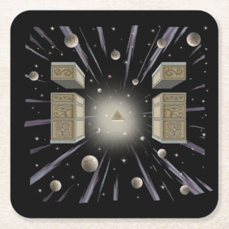Cosmic,new age ,metaphysical cup coaster. square paper coaster