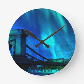 Cosmic Night in Budapest Wall Clock