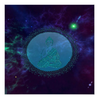 Cosmic Peace Buddha Space Poster
