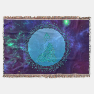 Cosmic Peace Buddha Space Throw Blanket