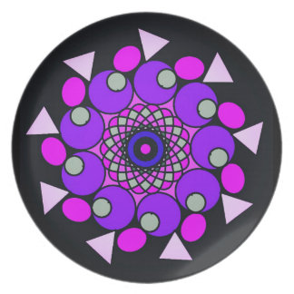 Cosmic Pink Purple Black Geometric Circle Plate