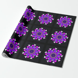 Cosmic Pink Purple Black Geometric Wrapping Paper
