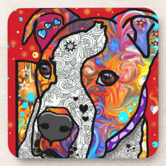 Cosmic Pit Bull - Bright Colorful - Gift Idea Drink Coaster