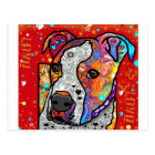 Cosmic Pit Bull - Bright Colourful - Gift Idea Postcard
