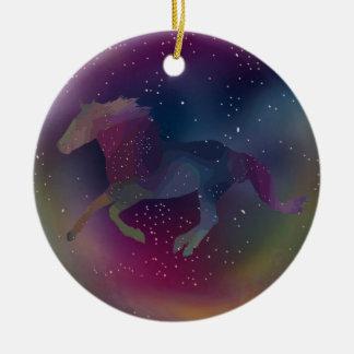 Cosmic Rainbow Mustang Ceramic Ornament