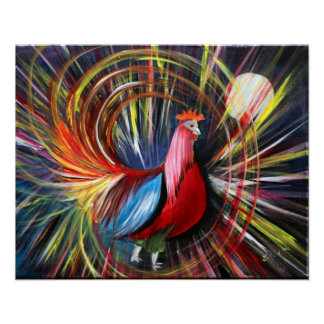 Cosmic Rooster Painting Print By Luke Taft
