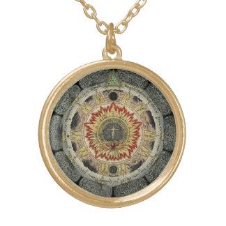 Cosmic Rose Mandala Gold Plated Necklace
