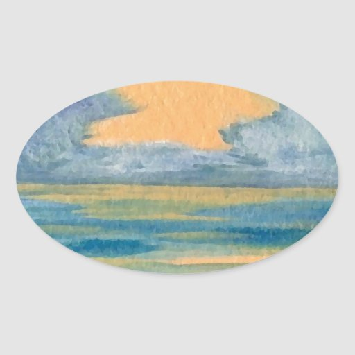 Cosmic Sea Yellow Gold and Blue Sunset Ocean Oval Stickers