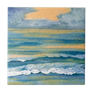 Cosmic Sea Yellow Gold and Blue Sunset Ocean Tile