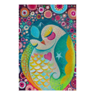 Cosmic Slumber - Sleepy Owl Art Poster