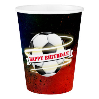Cosmic Soccer Ball Birthday Party Paper Cup