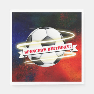 Cosmic Soccer Ball Birthday Party Paper Napkin