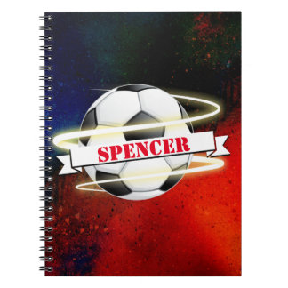 Cosmic Soccer Ball Personalized Spiral Notebook