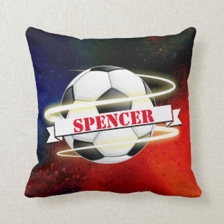 Cosmic Soccer Ball Personalized Throw Pillow