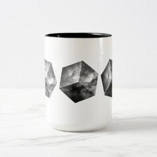 Cosmic Space Cube - Black and White Two-Tone Coffee Mug