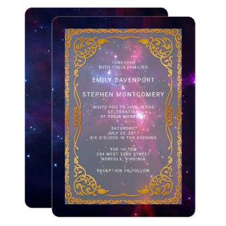 Cosmic Space Nebula with Decorative Frame Wedding Card