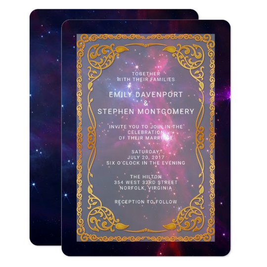 Cosmic Space Nebula with Decorative Frame Wedding Card