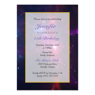 Cosmic Space Stars and Nebula Birthday Party Card