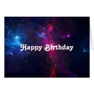 Cosmic Space Stars and Nebula Happy Birthday Card