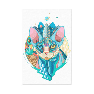 Cosmic Sphynx Cat Canvas Print