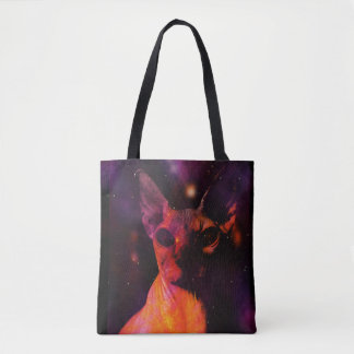 Cosmic Sphynx Cat Tote Bag