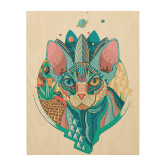 Cosmic Sphynx Cat Wood Wall Art