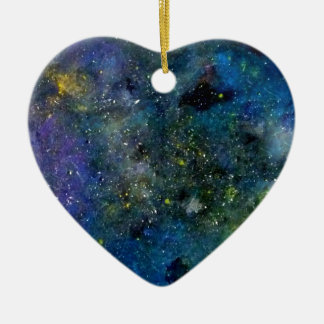 Cosmic starry sky - orion or milky way cosmos ceramic heart ornament