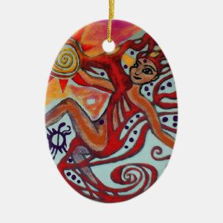Cosmic Sunshine Ceramic Oval Ornament