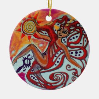 Cosmic Sunshine Round Ceramic Ornament