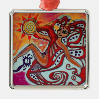 Cosmic Sunshine Silver-Colored Square Ornament
