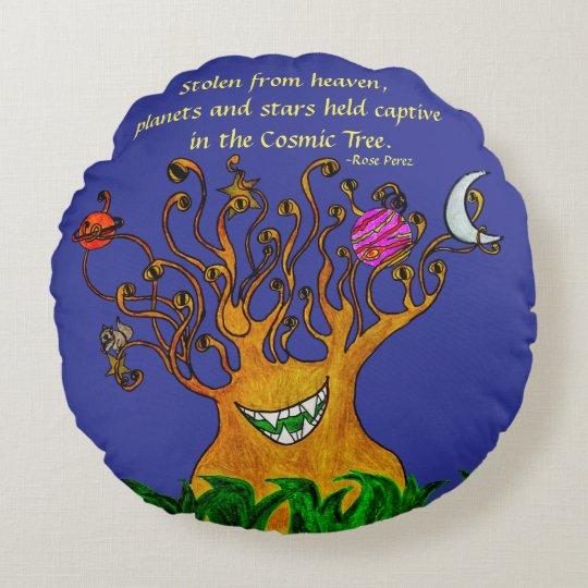 Cosmic Tree Round Pillow 100% Cotton USA